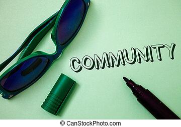 pisanie, związek, fotografia, grupa, jedność, stan, nuta, communicate., pokaz, community., pojęcia, sunglasses, przynależność, wiadomości, sąsiedztwo, przymierze, showcasing, tło, otwarty, biały, handlowy, markier