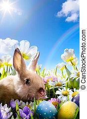 pisanki, sztuka, łąka, królik
