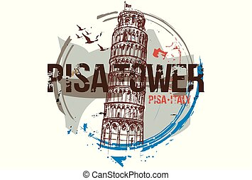 Pisatoweremblem - Pisa Tower. Toscana, Italy city design....