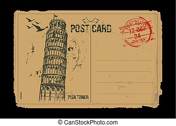 PisaVintageCard - Pisa Tower. Toscana, Italy post card...