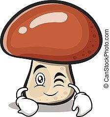 piscadela, personagem, caricatura, cogumelo