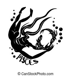 Pisces - Elegant zodiac signs silhouettes isolated on white