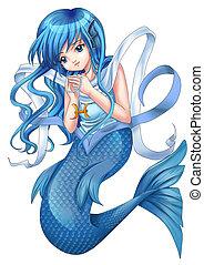 Pisces - Manga style illustration of zodiac symbol, Pisces