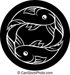 Pisces Fish Zodiac Astrology Sign - Circle Pisces fish...
