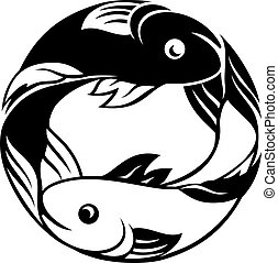 Pisces Fish Zodiac Sign - Zodiac signs circular Pisces fish...