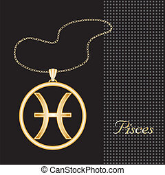 Pisces Gold Necklace - Gold embossed horoscope symbol,...