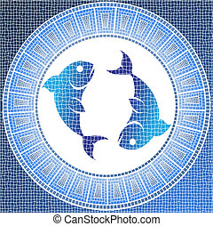 pisces - Element water: pisces zodiac sign on a mosaic,...