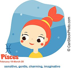 Pisces. Kids zodiac. Children horoscope sign. Astrological symbols with cute baby face in cartoon style