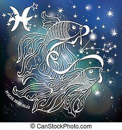 pisces., señal, horoscope., zodíaco, estrellas, espacio, ...