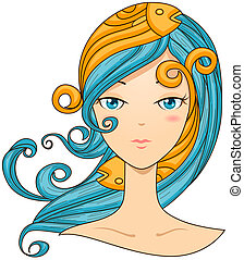 Pisces Girl with Clipping Path