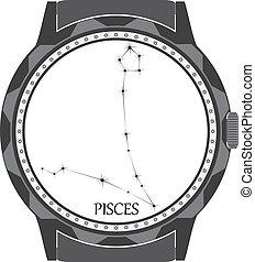 pisces., wijzerplaat, horloge, zodiac, meldingsbord
