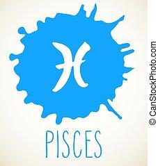 Pisces Zodiac sign design element