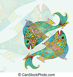Pisces Zodiac Sign - vector illustration of Pisces Zodiac...
