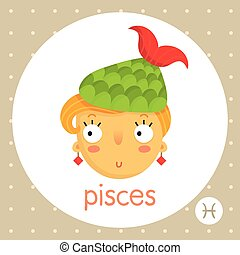 Pisces zodiac sign, girl fish tail