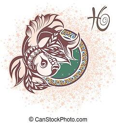 Pisces. Zodiac sign - Zodiac symbol for your design