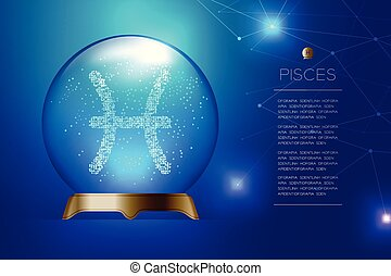 Pisces Zodiac sign in Magic glass ball, Fortune teller concept design illustration on blue gradient background with copy space, vector eps 10