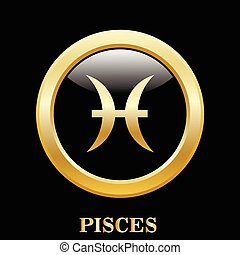 Pisces zodiac sign in oval frame