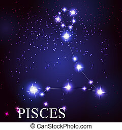 Pisces zodiac sign of the beautiful bright stars on the background of cosmic sky