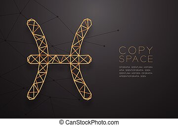 Pisces Zodiac sign wireframe Polygon golden frame structure, Fortune teller concept design illustration isolated on black gradient background with copy space, vector eps 10