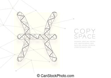 Pisces Zodiac sign wireframe Polygon silver frame structure, Fortune teller concept design illustration isolated on white background with copy space, vector eps 10