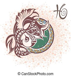 Pisces. Zodiac sign - Zodiac symbol for your design