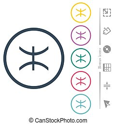 Pisces zodiac symbol flat color icons in round outlines