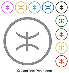 Pisces zodiac symbol flat icons with outlines