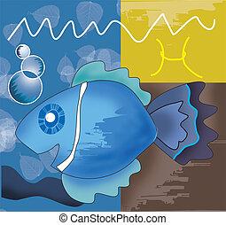 Pisces zodiac symbol montage