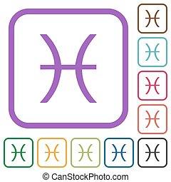 Pisces zodiac symbol simple icons