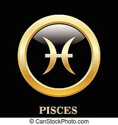 pisces, zodiak, znak, w, owal budowa