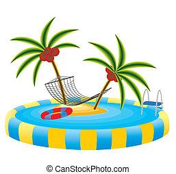 piscina al aire libre, y, isla tropical