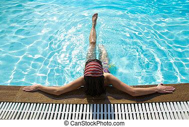 piscina, assento mulher