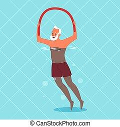 piscina, ball., viejo, ejercicio, natación