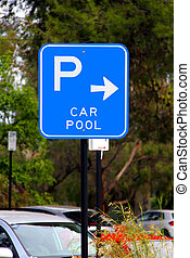 piscina carro, sinal estacionamento, -, corrente, australiano, sinal estrada