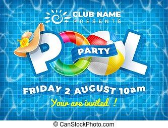 piscina, cartel, plantilla, fiesta