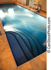 piscina, com, corrente, água