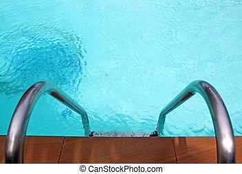 piscina, com, degrau