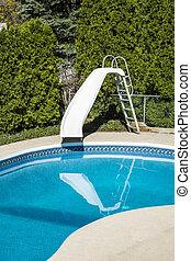 piscina, com, um, corrediça água