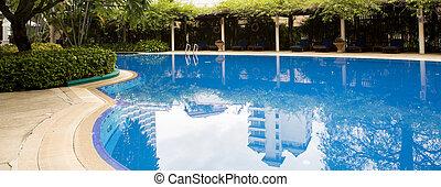 piscina, con, relajante, asientos