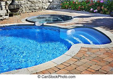 piscina, con, tina caliente
