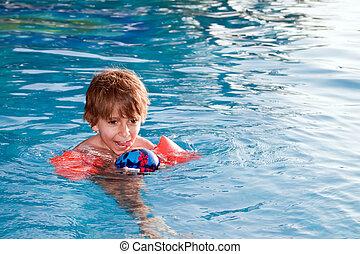 piscina, criança