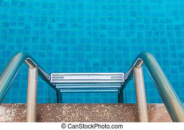 piscina, degrau, natação