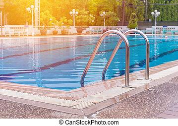 piscina, desporto, centro, degrau, natação