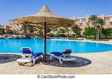 piscina, egipto, paraguas, mar, playa, rojo