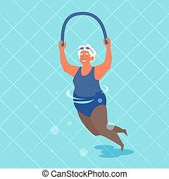 piscina, ella, hands., fideo, anciana, natación, ejercicio