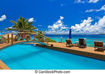 piscina, em, praia tropical, -, seychelles