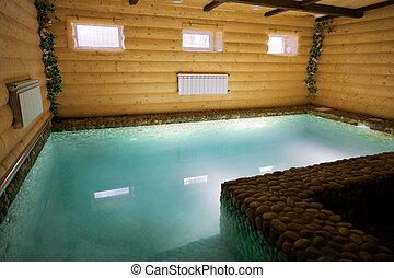 piscina, en, un, de madera, sauna