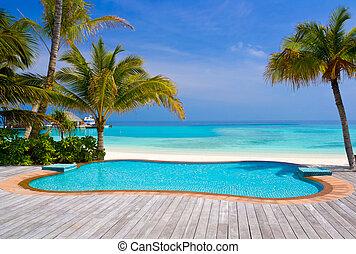 piscina, en, un, playa tropical