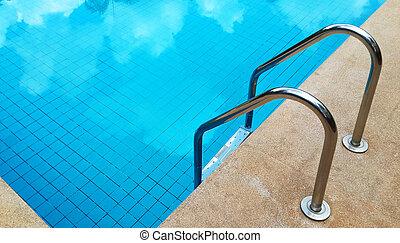 piscina, escadas.
