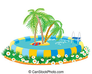 piscina exterior, e, ilha tropical